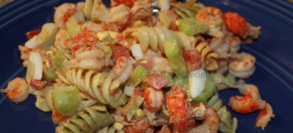 Crawfish Pasta Salad with fresh veggies
