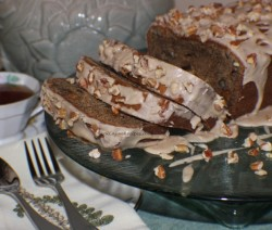 Persimmon Bread with Toasted Pecan Brown Sugar Glaze